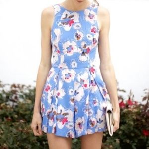 ASTR Blue Floral Romper Sleeveless Size Medium